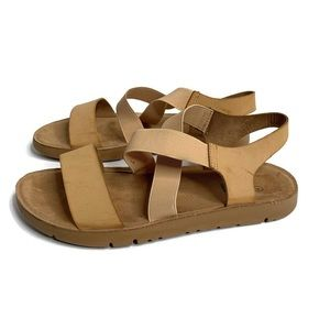 Dream Pairs Greek Tan Open Toe Sandal Flat 9 GUC